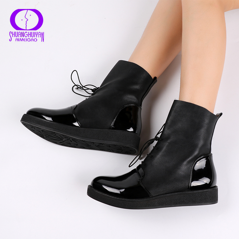 b0e4a3b3ab036 AIMEIGAO Newest Women Sexy Ankle Boots Female Fashion Patent PU Leather  Platform Women Shoes Plus Size Boots For Women