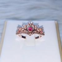 ZHOUYANG-anillos de corona para niña, anillos de dedo del Fiesta, Color oro rosa, joyería de cristal para mujer, KBR212