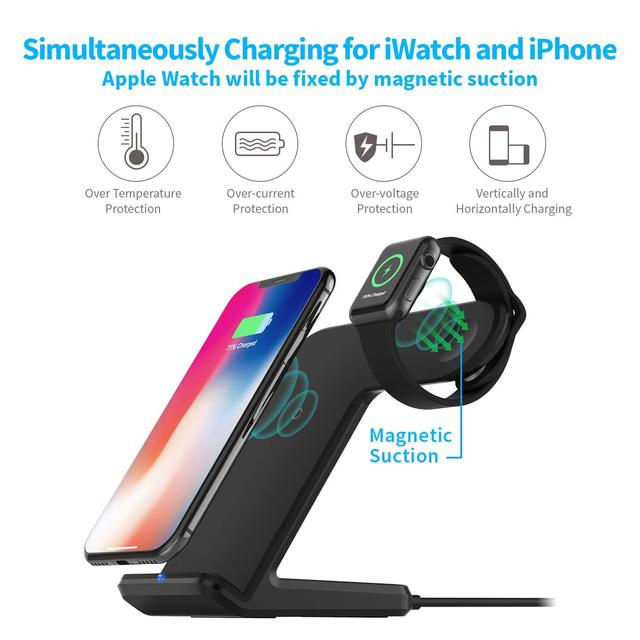 2 in 1 Wireless Charging for Apple watch 1 2 3 4 Qi Fast Wireless Charger Dock Stand for iPhone XS X 8 Plus Samsung Galaxy S9 S8 3