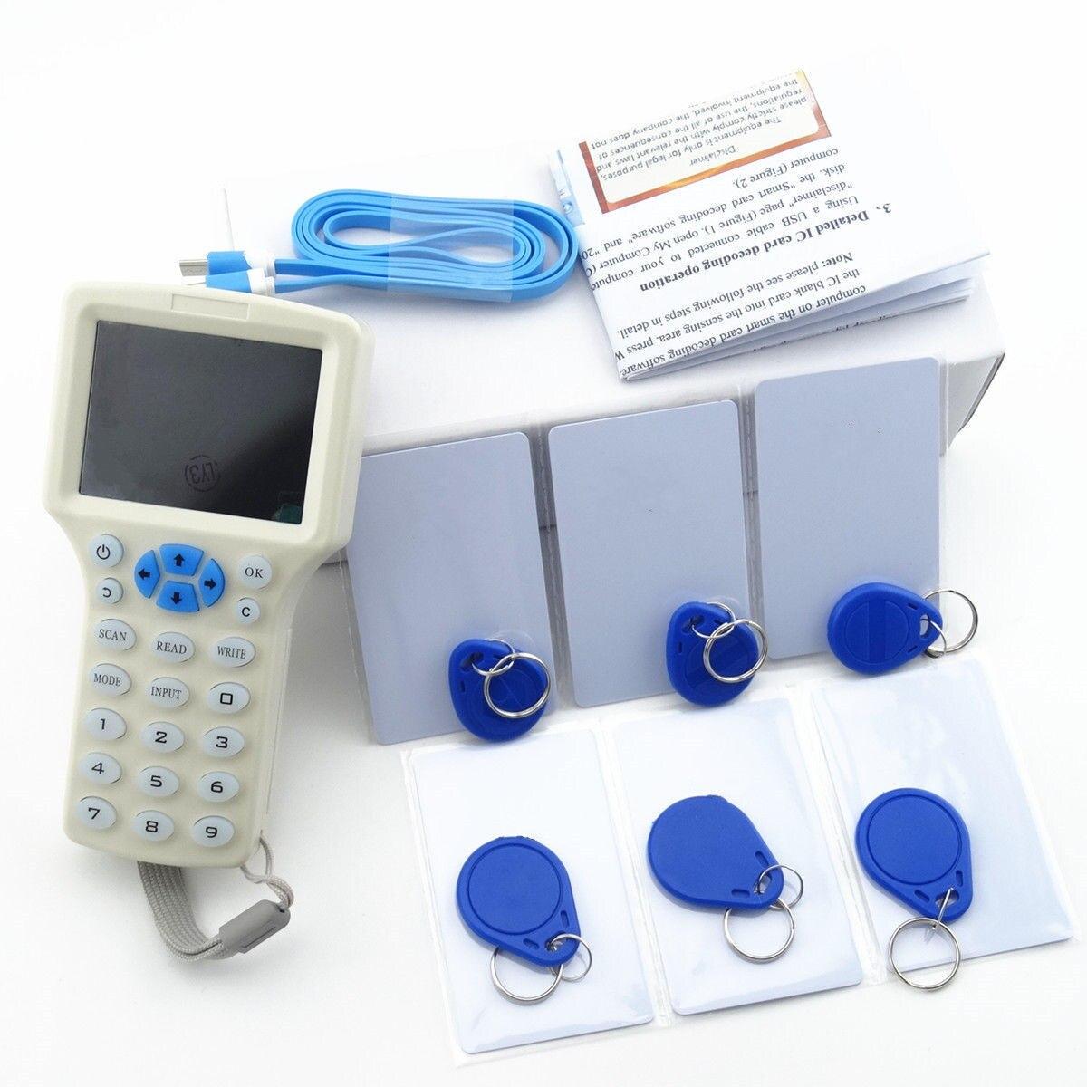 Anglais 10 fréquence RFID copie copieur crypté NFC Smart ID IC M113.56MHZ lecteur de carte chiffré duplicateur programmeur USB