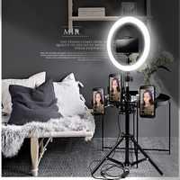 26 CM 24 W Dimmable LED Studio Camera anillo de luz autofoto foto vídeo del teléfono móvil anular lámpara trípode y teléfono titular de la