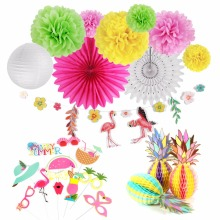 Pineapple Summer Party Decoration Kit Flamingo Lanterns Fans Artificial Birthday WeddingTropical Jungle Decor 12pcs