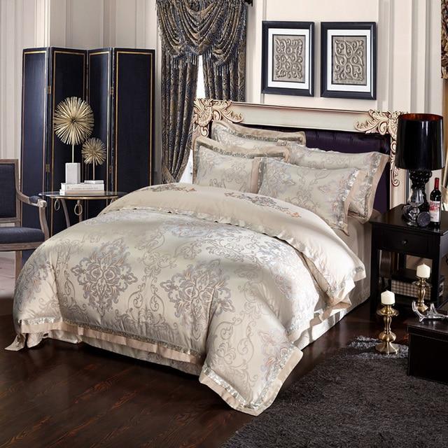Svetanya Silk satin Cotton blend bedding set king queen size bedspread duvet/quilt cover bed sheet pillowcase 4pc