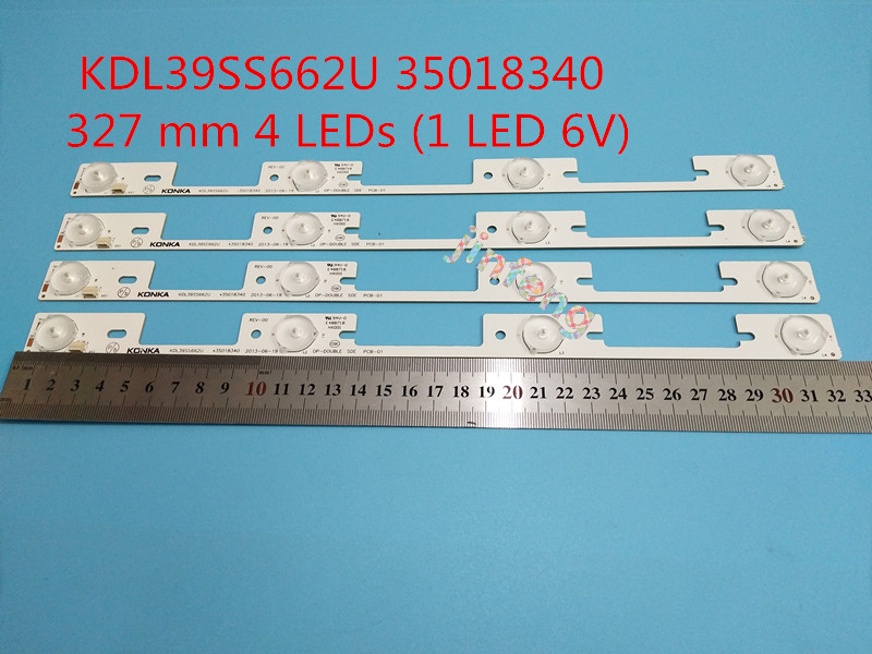 Bright New 4 Pcs Led Backlight Strip For Kdl39ss662u*35018340*35018339 High Standard In Quality And Hygiene 4led*6v*327mm