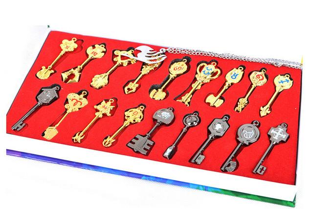 FAIRY TAIL Action Figures Spirit Lucy Weapon Keychain Pendan Zinc Alloys Collectible Model Toy Key Chain 18pcs/Set