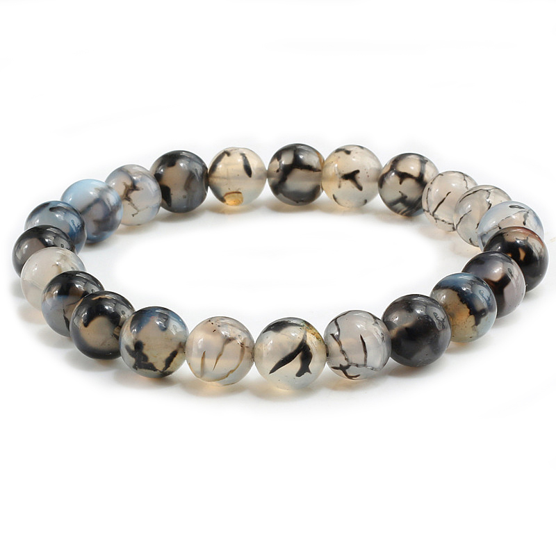 Trendy Men Bangle Black Dragon Pattern Stone Beads Strand Bracelets