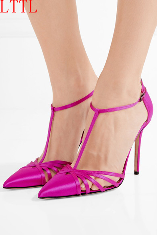 ФОТО 2017 Fashion Women Sandal Thin High Heels Sandals Rose Red Ladies Summer Shoes Gladiator Heels open toe Hollow Out Women Shoes