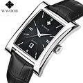2016 Luxury Brand Date Rectangle Genuine Leather Strap Waterproof Casual Quartz Watch Men Sports Wrist Watch Male Luminous Clock