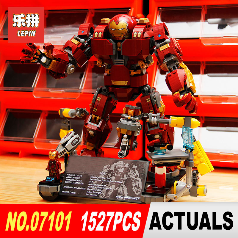 LEPIN 07101 Super Heroed 1527Pcs Iron Man Hulkbuster Ultron Toy Building Blocks Model Compatible with 76105 Marvel Avengers lepin 07101 super heroed 1527pcs iron man hulkbuster ultron toy building blocks model compatible with 76105 marvel avengers