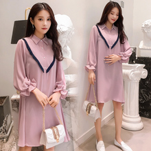 6271fac3a6f 9382  2019 Spring Korean Fashion Maternity Blouses Sweet Lovely Loose Dress  Clothes for Pregnant Women