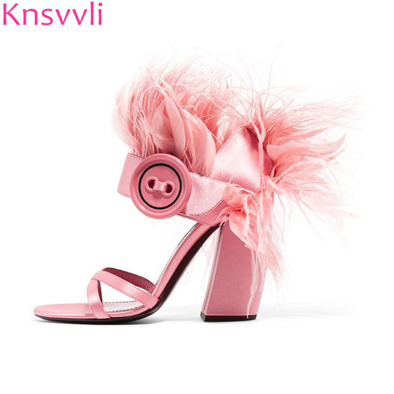 Knsvvli Pink Black Fur Sandals Women Ankle Buckle Button Chunky High Heels Summer Feather Shoes Party
