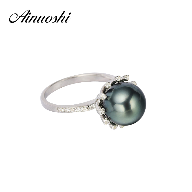 AINUOSHI Halo 10mm Black Tahitian Cultured Pearl Ring 925 Sterling Silver Halo Natural Round Pearl Ring Women Trendy Silver Ring pearl beaded ring round neck tee