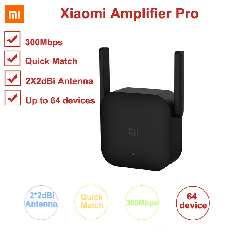 Xiaomi 300M Amplifier Pro WiFi Repeater Network Expander Power Extender Roteador 2 Antenna for Mi Router Wi-Fi Amplificador APP