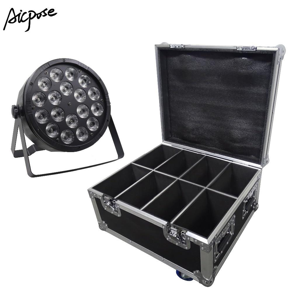 8Pcs/lots 18x12W Led Par Lights RGBW 4in1 Flat Par Led With Flight Case DMX512 Disco Lights Professional Stage Equipment