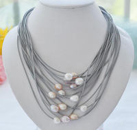 Elegant Handmade Real Pearl Jewelry 15 Strands 13mm White Pink Rice Freshwater Pearl Gray Leather Necklace