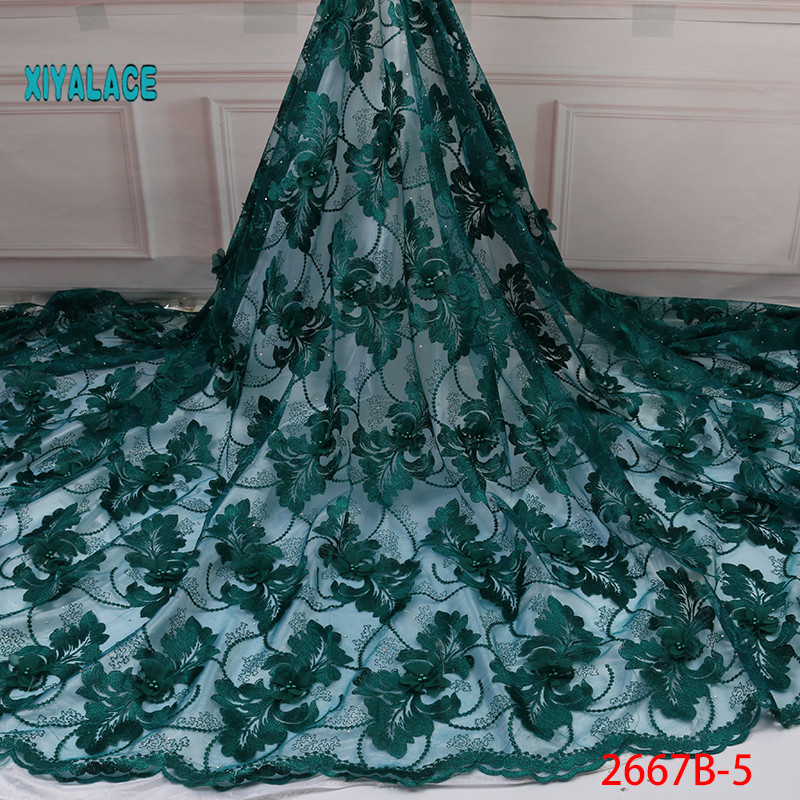 2019 New Style French Net Lace Fabric 3D Flower African Tulle Mesh Lace Fabric High Quality Lace Nigerian Lace Fabric YA2667B-5