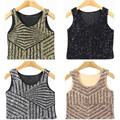 New Europe Stripe Sequin Mosaic Vest Sexy Short Patchwork  Bralette Bustier Women Crop Top Tank Top EV023