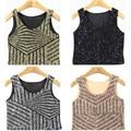 New Europe Stripe Sequin Mosaic Vest Sexy Short Patchwork  Bralette Bustier Women Crop Top Tank Top EV023