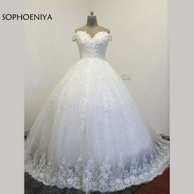 Vestidos De Novia Custom made Off the shoulder Ball gown wedding ...