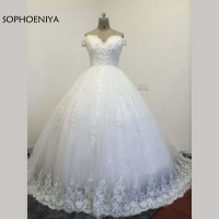 Vestidos De Novia Custom Made Off The Shoulder Ball Gown Wedding Dresses Plus Size Lace Cheap