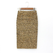 2018 Midi Bodycon High Waist Elasticity Pencil Skirt Womens Skirts Mid-calf Gold  Sequined Wrap 0d1ace13ce2f