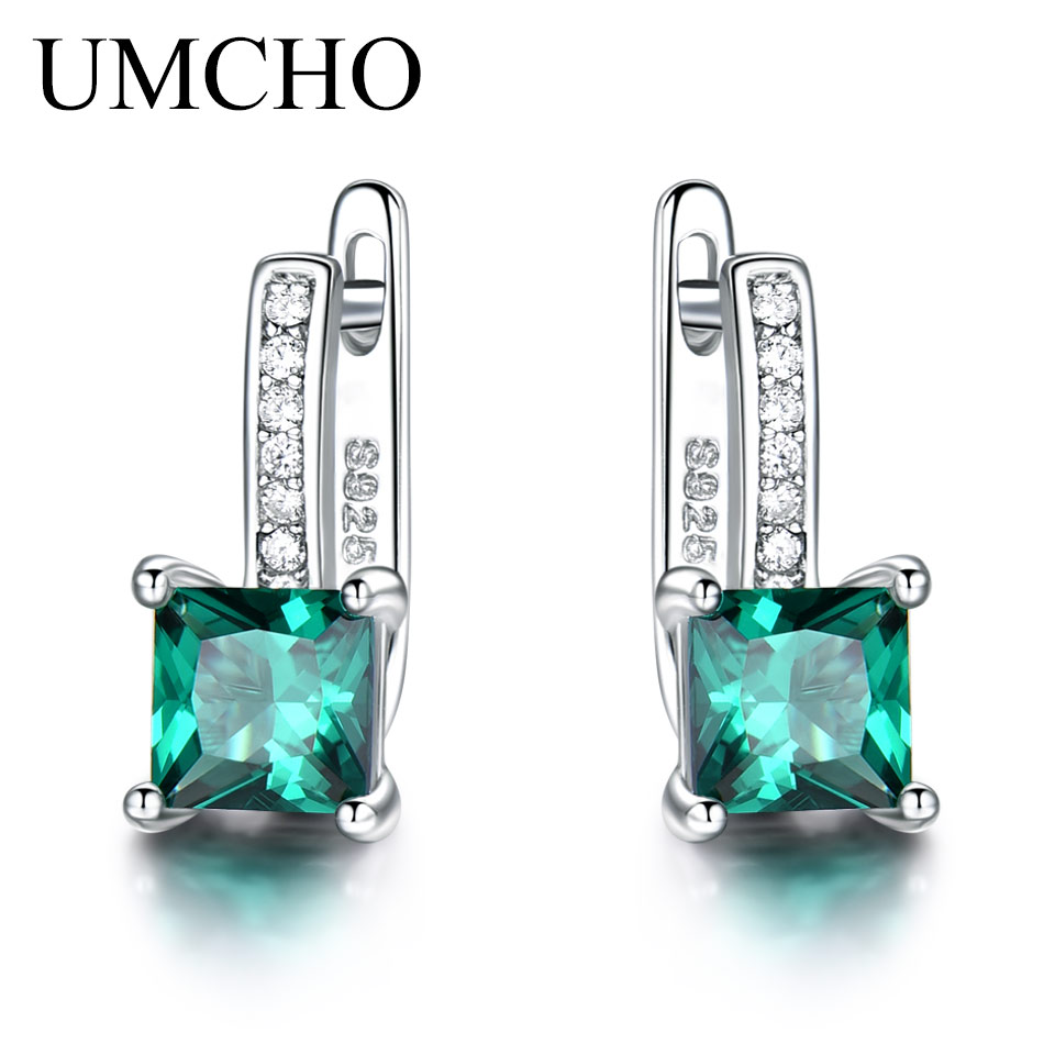 UMCHO Created Green Emerald Gemstone Clip Earrings For Women Solid 925 Sterling Silver  Anniversary Gifts For Women Accessories