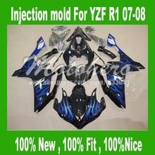Injection Blue flame black for Yamaha YZF R1 07 08 2007 2008 YZF-R1 07-08 #3776 YZF1000 R1 07 08 fairings kits fairing