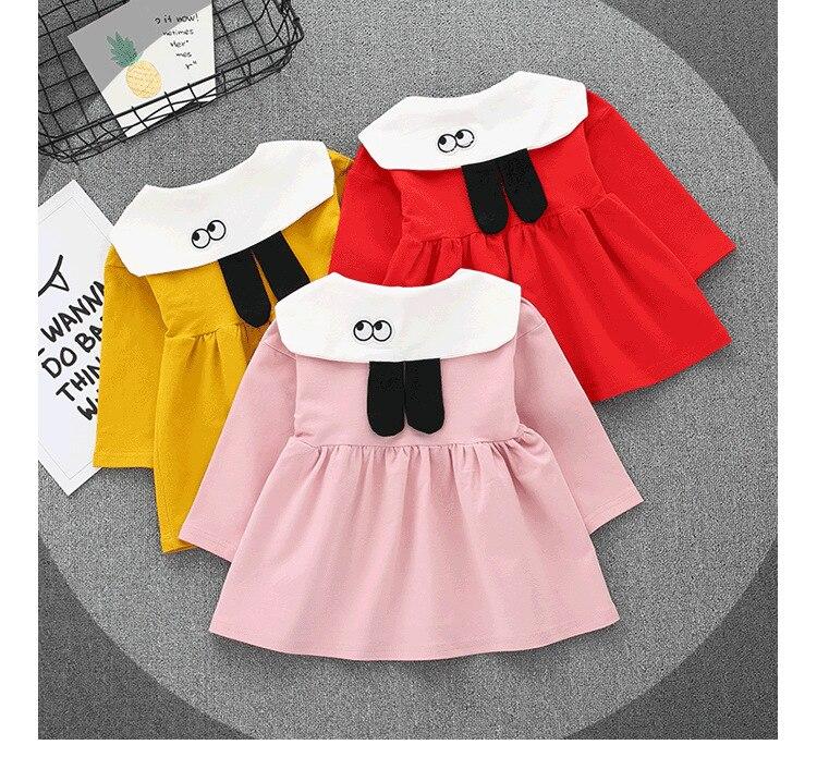 Wholesale Baby girl clothes 2018 Autumn New Fashion Style Turn-down collar cotton PF001 children Dress Kids girls dresses