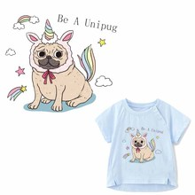 Funny Dog Patch Iron on Transfer Unicorn Patches for Clothing DIY T-shirt Applique Heat Vinyl Stickers Clothes Press