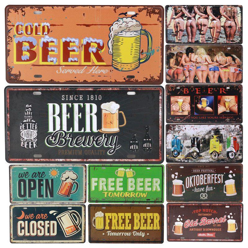 Free Ice Cold Beer Plaque Vintage Metal Tin Signs Bar Pub Decorative Plate Pub Club Decor Iron Wine Poster Man Cave Cartel C16
