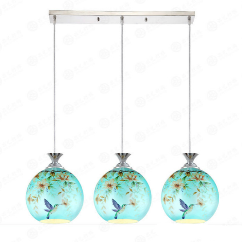 New Classical Pastoral Mediterranean Sea Hand Painted Art Glass Led E27*1/3 Pendant Light For Dining Room Living Room Bar 2052 mediterranean sea creative handmade shells campanula led e14 3 6 heads large pendant light for living dia 80 100cm 1221