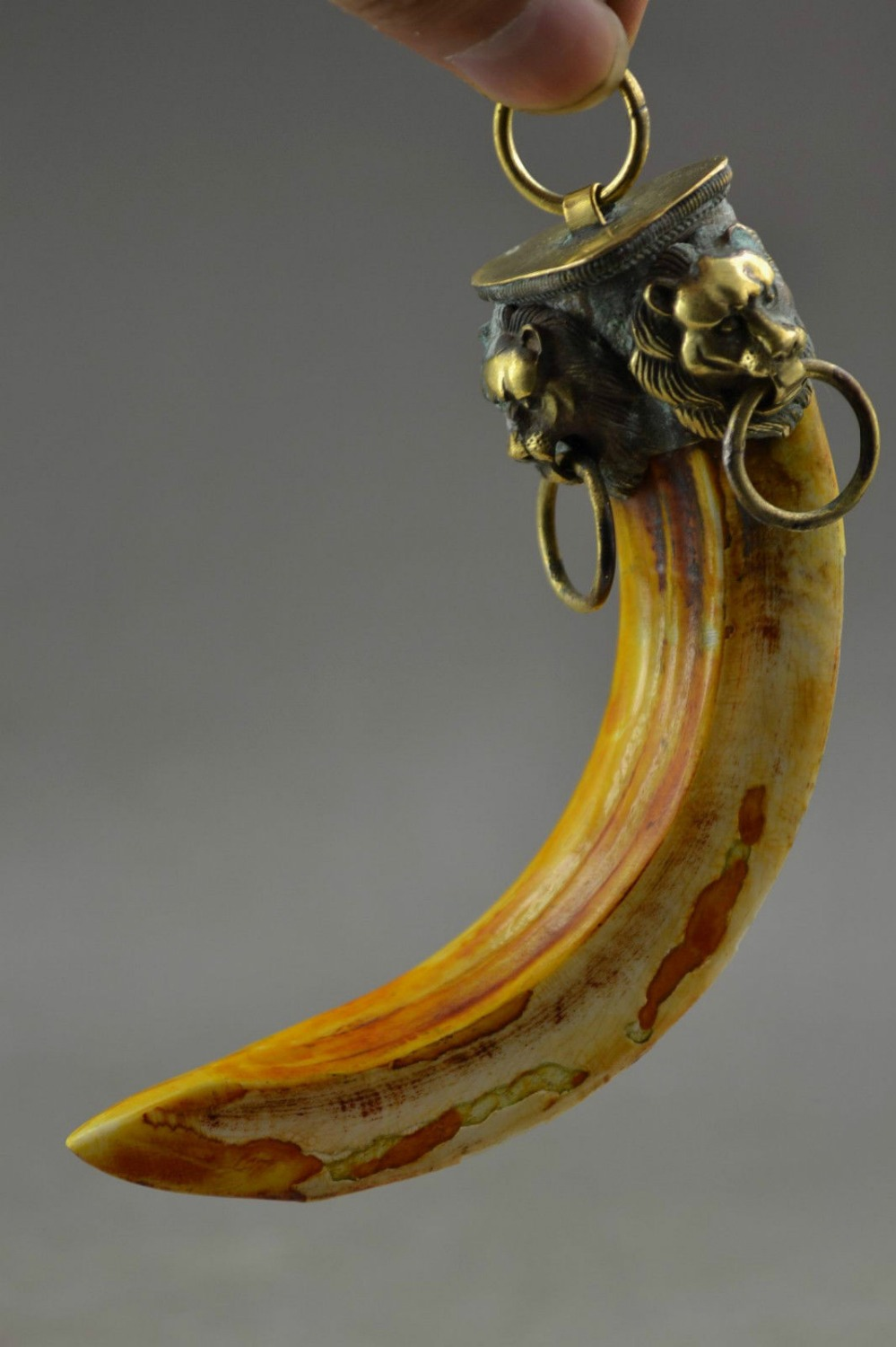 Chinese Collection Handwork Boar teeth /& Copper Carved Lion Unique Pendant
