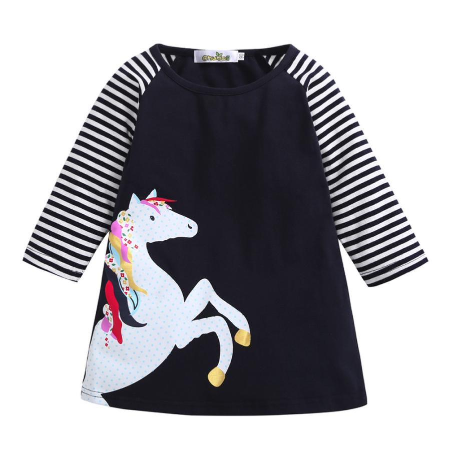 Toddler Baby Girl Kid Spring Clothes Horse Stripe Print Princess Party Dress