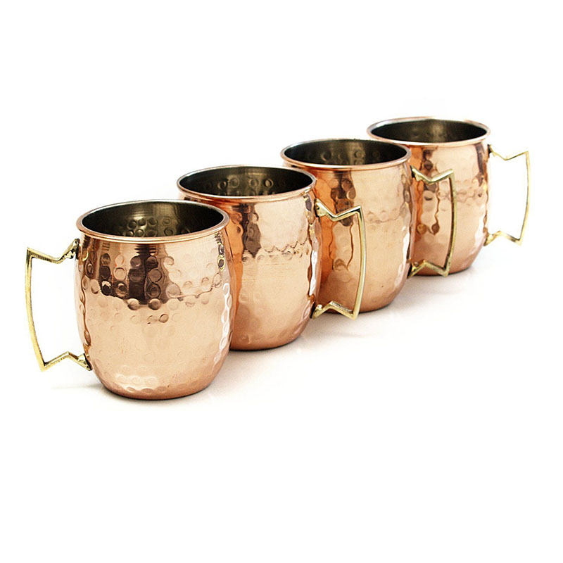 1-4PCS 18 Ounces Hammered Copper Plated Moscow Mule Mug Beer Cup Coffee Cup Mug Copper Plated Drinkware Cocktail Special Cup