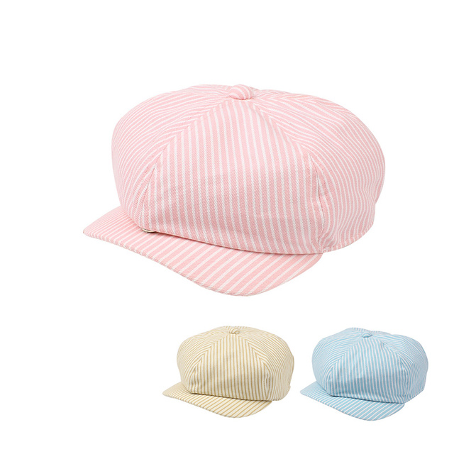 5194a9919a60a4 Cotton Striped Baby Cap For Girl Fashion Korea Painter Hat Kids Beret Cap  Spring Summer Sun Cap Kids Clothes Baby Boys Clothing