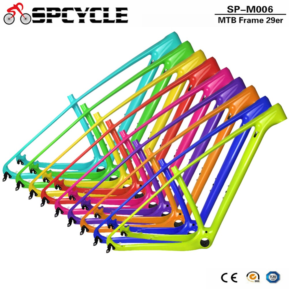 Spcycle 2018 New T1000 Carbon Mtb Frame 29er Carbon Mountain Bike Frame 142*12 Thru Axle or 135*9mm QR Bicycle Frame smileteam 27 5er 29er full carbon mtb frame t1000 carbon oem mountain bike frame 142 12 thru axle