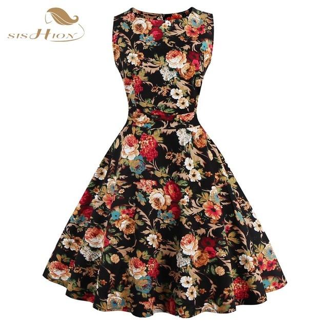 f527c99dd914 SISHION Print Floral Dress Women Ladies Plus Size Flower Pattern Rockabilly  50s Vintage Dresses Club Sexy 60s Party Dress 0276B