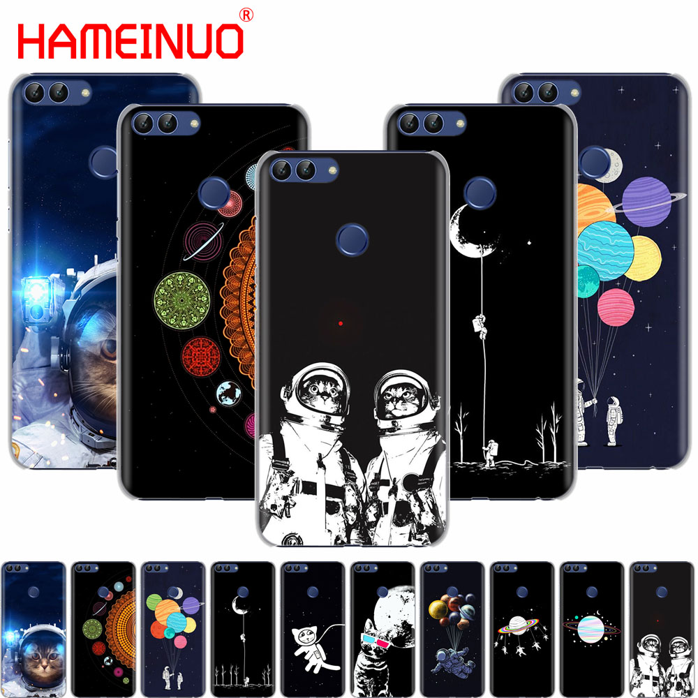 Half-wrapped Case Hameinuo Space Love Moon Astronaut Cat Cell Phone Cover Case For Huawei Honor 7c Y5 Y625 Y635 Y6 Y7 Y9 2017 2018 Prime Pro Lustrous Cellphones & Telecommunications
