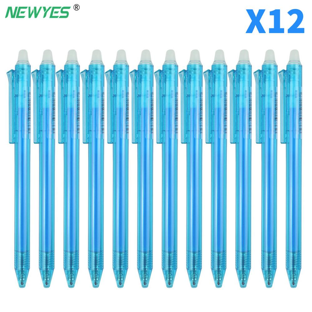 NEWYES 12PCS/SET Original Custom Smart Notebook Erasable Pen Blue Ink 0.5mm Black gel pen Writing office supplies Kids Gift