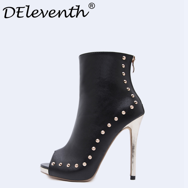 New Spring Women Shoes 2018 Peep Toe Booties Stiletto High Heels Women s  Shoes Ankle Boots Rivets c4d45c3f7e17