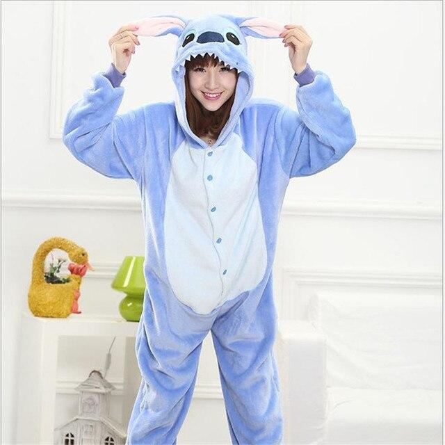 Adults Flannel Pajamas Cute Cartoon Stitch Animal Winter Sleepwear Womens Christmas Hooded Pajama Set Full Sleeve