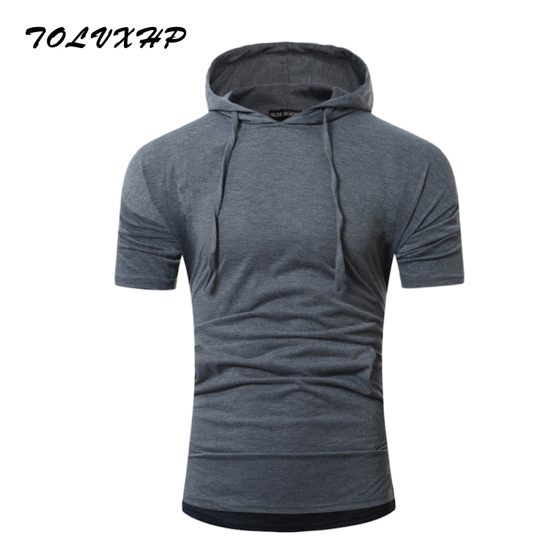 2018 Summer New Fashion Brand Clothing Tshirt Men Pure color Slim Fit Short Sleeve T Shirt Men Standing collar Casual T-Shirts