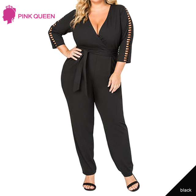 6be6ff82a2f88 Pink Queen Women Plus Size Jumpsuits Long Sleeve Deep V Neck Office Wear  Black White Clothes