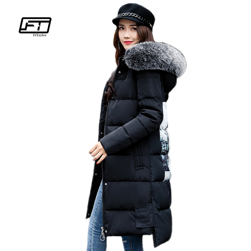 Fitaylor 2017 New Winter Jacket Women Large Fur Collar Print Hooded Parkas Medium Long Black Padded Jacket Warm Snow Overcoat ftlzz new women winter jacket cotton coat slim large fur collar hooded parkas padded warm thickness medium long black overcoat