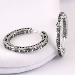 New 925 Sterling Silver Earring Women Hearts Circles With Crystal Stud Earrings For Women Wedding Gift Fine Europe Jewelry