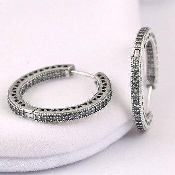 Nouveau 925 boucles d'oreilles en argent Sterling femmes cœurs cercles avec boucles d'oreilles en cristal pour les femmes cadeau de mariage bijoux Fine Europe