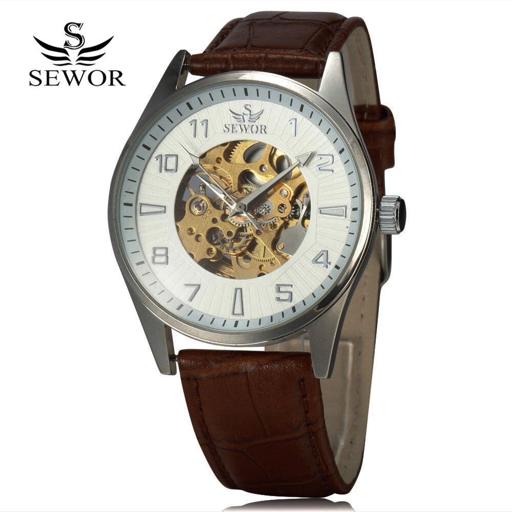 SEWOR Royal Carving Skeleton Watch Barna bőrszíj vékony tokú - Férfi órák