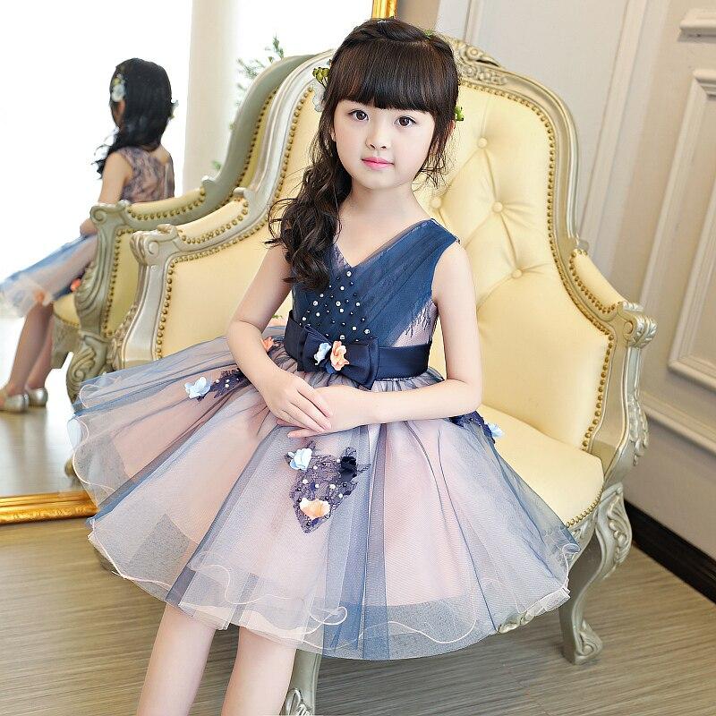 Robe bleue pour fille d'été sans manches col en v fée princesse robe de bal enfants passerelle 2019 beaux vêtements fête anniversaire enfant