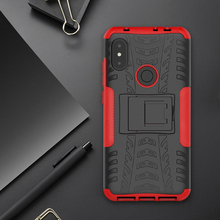 цена на [Clearance] For Xiaomi Redmi Note 6 Pro Case Hard PC+TPU Tire Grain Armor Holder Protect Back Cover For Redmi Note 6 Pro Case
