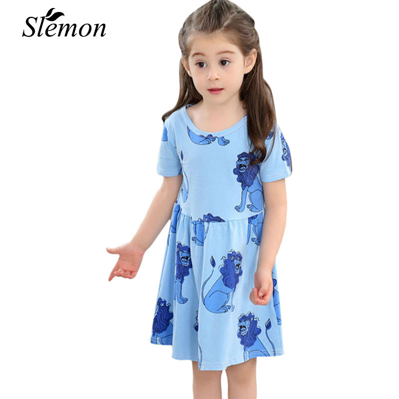 Cute Girls Dress Summer 2018 Kids Print Animal Clothing Short Sleeve Lion Pattern Children New Fashion for 1 2 3 4 5 6 7 8 Years 2016 fashion summer rare editios for girls cute clothing outfits kids short sleeve bow cotton polka dot dress with pants suit